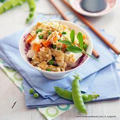 Gebratener Eierreis mit Fisch » Kochrezepte von Kochen & Küche Flower Art Images, Fried Rice, Risotto, Ethnic Recipes, Food, Carrots, Recipes With Eggs, Essen, Meals