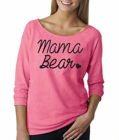 Mama Bear. French Terry Shirt. Off the Shoulder. by AmazingTeez
