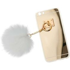 Miss Selfridge White Fluffy Pom Pom Phone Case ($9) ❤ liked on Polyvore featuring accessories, tech accessories, white and miss selfridge