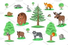 Cute smiling forest animals vector cartoon illustration. Wild zoo mammals icons for kids book.  Bear, fox, owl, hedgehog, squirrel, wolf, elk, raccoon, hare, badger, beaver, boar with green trees and bushes by vectorikart on @creativemarket