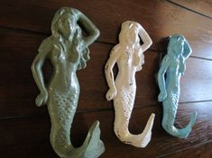 Mermaid Hooks / Shabby Chic Wall Hooks / Towel Hooks / Bathroom Hook Set/ Nursery Hooks/Nautical Hook Set-for the girls bathroom