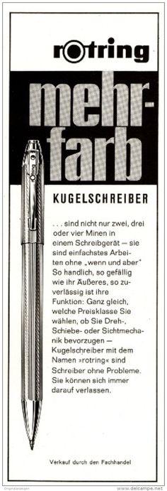 Original-Werbung/ Anzeige 1964 - ROTRING MEHRFARB KUGELSCHREIBER - ca. 60 x 200 mm