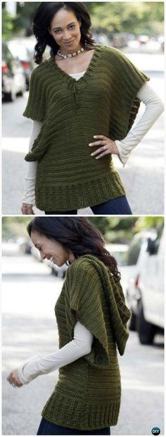 Crochet Caron V-Topper Tunic Free Pattern - Crochet Women Pullover Sweater Free Patterns