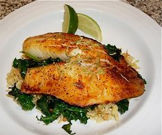 soy-lime broiled talapia with kale-spinach, brown rice saute