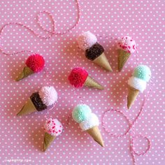 ime for some more pom-pom ice cream cones! 🍦🍒 This pom-pom garland is a fun project for crafters of all ages. Craft your favorite cones Pom Pom Crafts, Yarn Crafts, Felt Crafts, Pom Pom Garland, Pom Poms, Tulle Poms, Tulle Tutu, Crafts To Make And Sell, Diy And Crafts