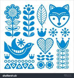 Finnish inspired folk art pattern - blue design, Scandinavian, Nordic style