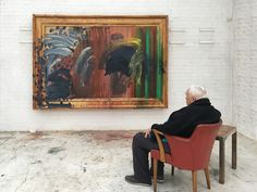 Portrait of Howard Hodgkin (1932-2017) featuring Portrait of the Artist Listening to Music (2016), photographed by Miriam Perez. Courtesy Gagosian.