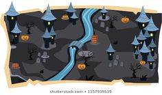 Halloween Game Maps and black land with Castle, Graveyard, River, Orange Pumpkins with scary tree for Cartoon Vector Illustration