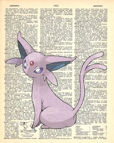 Espeon Pokemon Dictionary Art Print by MollyMuffinsPrints on Etsy