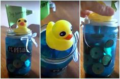 Pengegave badeand med mønter i husblas Folding Money, Rubber Duck, Drink Bottles, Diy Gifts, Diy And Crafts, Barn, Toys, Google Search, Activity Toys