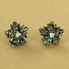 Sterling Silver Abalone Cubic Zirconia Flower Post Earrings - Fire & Ice