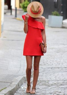 If the dress code calls for a polished yet knockout getup, you can dress in a red shift dress. Dial up this whole getup with brown leather thong sandals. Dress Hats, Dress Outfits, Casual Dresses, Fashion Outfits, Red Dress Outfit Casual, Dress Clothes, Coral Summer Dresses, Coral Dress, Orange Dress