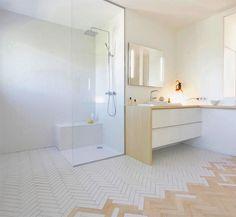Extensive range of parquet flooring in Edinburgh, Glasgow, London. Parquet flooring delivery within the mainland UK and Worldwide. Floor Design, Tile Design, House Design, Bad Inspiration, Bathroom Inspiration, Bathroom Furniture, Bathroom Interior, Open Bathroom, Light Bathroom