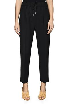 REISS DRAWSTRING WAIST WOOL BLEND PANTS. #reiss #cloth Tapered Trousers, Cropped Trousers, Trousers Women, Paperbag Waist Trousers, Silk Shorts, Shearling Jacket, Dressy Tops, Merino Wool Sweater, Reiss