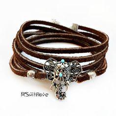 Ethnic Elephant  Bracelet Leather Wrap Bracelet by MSwithlove