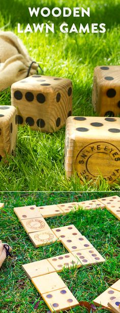 Shake things up this summer with hardwood dice. Theyre the perfect yard game for playing at picnics barbecues and beach trips. Shake things up this summer with hardwood dice. Theyre the perfect yard game for playing at picnics barbecues and beach trips. Outdoor Yard Games, Backyard Games, Outdoor Fun, Backyard Ideas, Outdoor Projects, Wood Projects, Projects To Try, Yard Dice, Outside Games