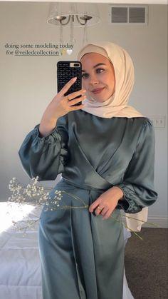 Modesty Fashion, Muslim Fashion, Hijab Fashion, Fashion Dresses, Hijab Prom Dress, Prom Girl Dresses, Satin Dresses, Gowns, Wedding Dresses For Kids