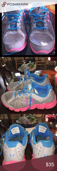 Under Armour Gray And Aqua Sneakers Size 6.5.   Under Armour Gray Sneakers With Pink And Aqua Blue Under Armour Shoes Sneakers