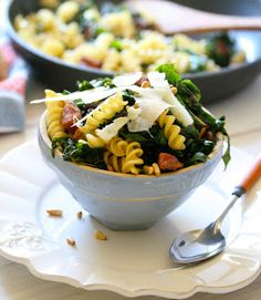 Curly Pasta with Sausage, Swiss Chard, and Pine Nuts