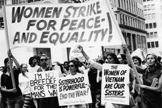 """""""Women Strike for Peace and Equality"""" - Women Strike for Peace at the Women's Strike for Equality Demonstration, Photo credit: Eugene Gordon / The New York Historical Society / Getty Images Feminism Photography, What Is Feminism, Second Wave Feminism, Feminist Movement, Reproductive Rights, Historical Society, Ladies Day, Equality, Peace"""