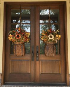 Refresh your front door with a fresh wreath, outdoor sconces, a spot to wipe your feet and planters to put your plants on display. Autumn Wreaths For Front Door, Fall Wreaths, Fall Front Doors, Fall Swags, Floral Wreaths, Door Swag, Outdoor Sconces, Porch Decorating, Decorating Ideas
