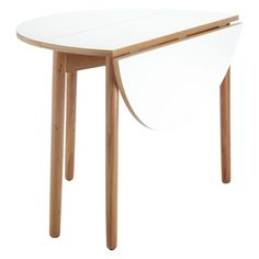 Perfect for small spaces, the compact Suki white folding round dining table is made from solid oak and oak veneer with a matt white top. Buy now at Habitat UK. Kitchen Table Chairs, Teak Table, Dining Room Table, Table And Chairs, White Round Dining Table, Round Folding Table, Fold Down Table, Cool Tables, Side Tables