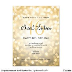 Elegant Sweet 16 Birthday Gold Glitter Lights 4.25x5.5 Paper Invitation Card