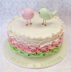 Ombré ruffle Engagement cake with two fondant birds