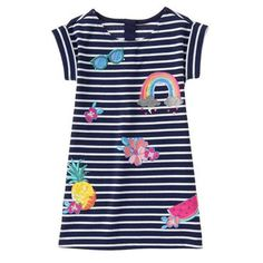 Girls Navy Stripe Tropical Patches Dress by Gymboree Cute Dresses For Teens, Little Dresses, Summer Dresses, Kids Dress Wear, Kids Wear, Striped Shorts, Striped Dress, White Short Sleeve Shirt, Best Friend Shirts