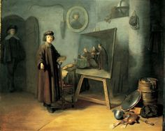 """An Artist in his Studio 1628  Panel by Rembrandt's student.  Dou was Rembrandt's pupil in 1628. This painting, which was previously known as """"Rembrandt in his Studio"""", shows the sort of objects that an artist might collect in his workroom, all in the service of his art. It should be seen as the ideal of a studio.  Private collection"""