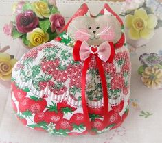 Cat Pillow Doll Cloth Doll 7 inchStrawberry by CharlotteStyle, $16.00
