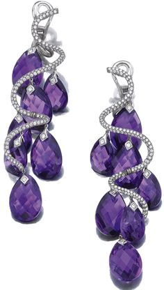 PAIR OF AMETHYST AND DIAMOND PENDENT EAR CLIPS, MICHELE DELLA VALLE Of spiral design, set with brilliant-cut diamonds and faceted amethyst drops, mounted in white gold and titanium, signed Michele della Valle and numbered. Purple Jewelry, Amethyst Jewelry, I Love Jewelry, Bling Jewelry, Jewelry Accessories, Jewelry Design, Jewlery, Amethyst Earrings, Ring Armband