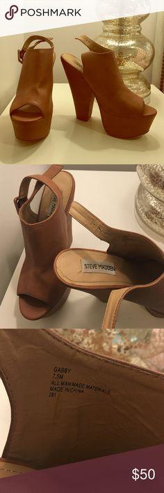 Steve Madden Gabby Platform Original Steve Madden Gabby wedge in brown color. Only worn a few times. Size 7.5 Steve Madden Shoes Platforms