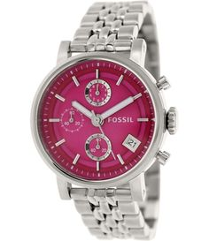 d9a595f28f49 Fossil Women s Original Boyfriend Silver Quartz Watch with Pink Dial  Elegant Watches
