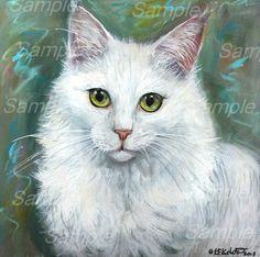 Original White Turkish Angora Cat Painting on Wood Longhair Kitten Kasheta Art   eBay