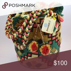 Colombian Wayuu Bag Woven bag and braided straps. 100% cotton. Bohemian and summer bag. HANDMADE. Anncestralinfo@gmail.com Anncestral Bags Shoulder Bags