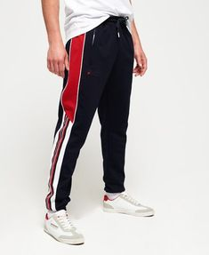 Shop Superdry Mens SD Tricot Blocked Track Pants in Track Navy/track Red. Jogger Pants Outfit, Cute Sweatpants Outfit, Cuffed Joggers, Mens Joggers, Superdry Mens, Sport Outfits, Kids Outfits, Track Pants Mens, Leather Jackets