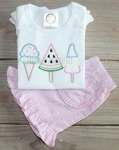 Ice Cream Ruffle Shirt and Bottoms Personalized Ice Cream
