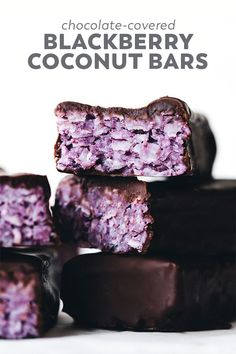 Blackberry Coconut Bars, Desserts, These chocolate covered Blackberry Coconut Bars are the berry-sweetened and beautifully PURPLE version of a bounty bar, but vegan and only 5 ingredien. Dark Chocolate Chips, Melting Chocolate, Chocolate Covered, Paleo Chocolate, Chocolate Cupcakes, Chocolate Desserts, Vegan Desserts, Dessert Recipes, Vegan Sweets