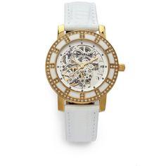 BCBGMAXAZRIA Round Crystal & Enamel Yellow Gold Watch/White $115