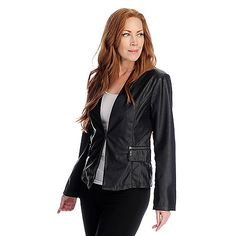 Pamela McCoy® Faux Leather Long Sleeved Laser Cut Design Jacket Feminine, yet edgy! This beautiful faux leather jacket features a laser cut-out design throughout and two diagonally-set zipper pockets with decorative flaps on the lower waist. The full-length sleeves offer the coverage you desire and princess seams craft a figure flattering silhouette. A single hook and eye closure secures the opening and the underside of each arm showcases a stylish, chiffon-like fabric.
