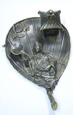 RARE interesting antique Japanese Chinese fan leaf & figural bronze inkwell