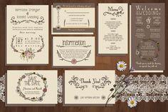 nice Wildflower Wedding Invitation Suite  CreativeWork247 - Fonts, Graphics...