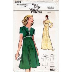 1970s Evening Dress Pattern Very Easy Vogue 8679 by BessieAndMaive