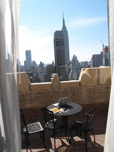 There with a coffee! Manhattan balcony, rooftop