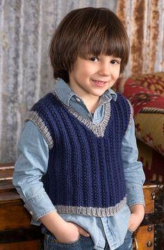 Boy's Seeded Rib Vest in Red Heart Soft - LW4270EN