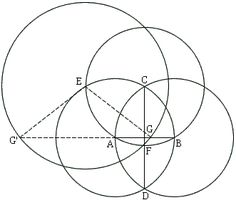 4 circle golden ratio (down about a dozen pictures at the website): AB/AG = PHI & AG'/AB = PHI The solution twists your brain around.