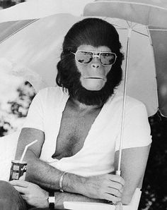 Roddy Mcdowall on the set of Planet of the Apes 1968