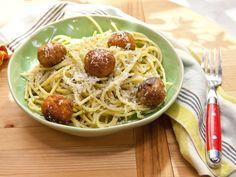 Spaghetti and Tuna Meatballs recipe from Katie Lee via Food Network