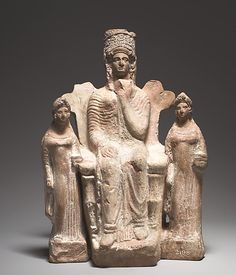 Enthroned goddess Artemis between two Attendants - Terracotta statuette, circa 4th c. BC, height 25 cm, from the temple of Artemis Paralia at Kition, Cyprus